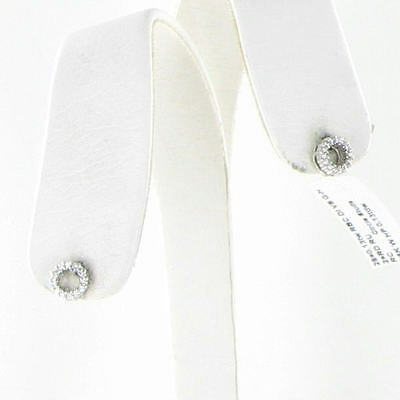 Roberto Coin Circle Diamond Stud Earrings 0.13cts 18k White Gold New $840