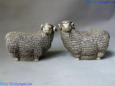 China silver carved lucky Feng Shui money blessing Sheeps pair sculpture Statues