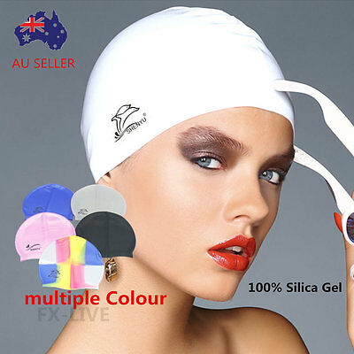 Men Women Silicone Swimming Cap Swim Hat Waterproof Unisex Sports FX-031
