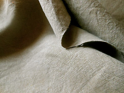 Antique Rustic French Loomed Linen Flax Fabric ~Soft Cafe Au Lait Sand Beige