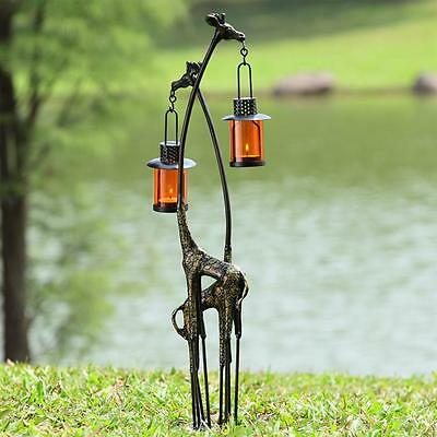 Wildlife Nature Whimsical Cast Iron Garden Art Giraffe Pair Lantern,27''H