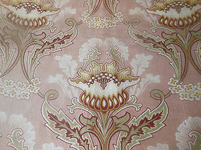 Antique French Art Nouveau Artichoke Floral Cotton Fabric ~Blush Mauve Sage Brwn