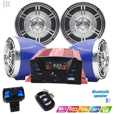 4 Channel 3' UTV/ATV/Snowmobile/Marine Amplified Speaker System Bluetooth