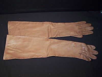 Vintage Women's Long Leather Gloves W.Germany Size 7 Lt. Brown Lazarus Cols. OH