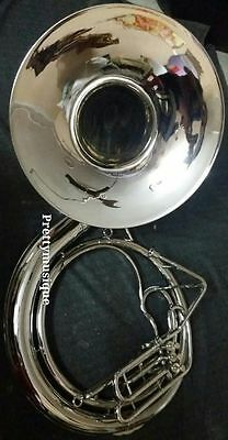 "Sousaphone Big 25"" Bell,made Of Pure Brass In Silver Chrom + Free Case + Mouthpc"
