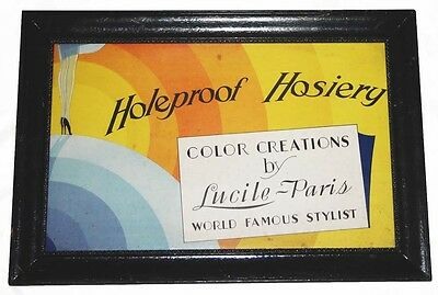 1920's Advertising Sign, HOLEPROOF HOSIERY~Color Creations Lucile-Paris
