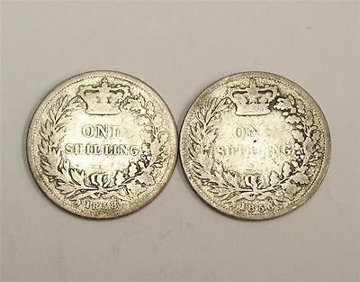 1856 and 1857 Great Britain Silver Shillings AG/G