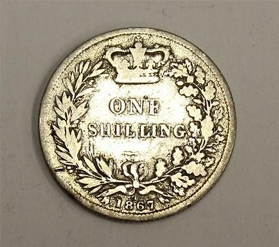 1867 Great Britain Victoria silver Shilling coin die#1 VG8