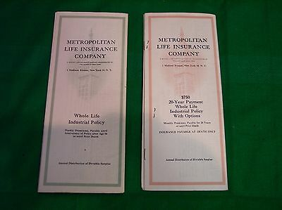 Lot Of 2 Vintage Metropolitan Life Insurance Policies From 1953 & 1954