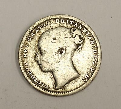 1874 Great Britain Victoria silver Shilling coin die#16 VG10