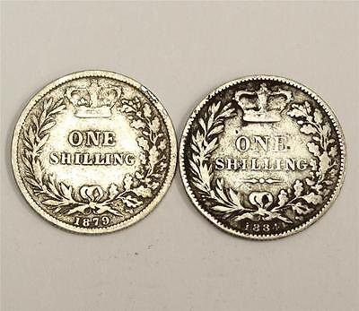 1879 & 1884 Great Britain Victoria silver Shilling 2-coins VG8 & VG10