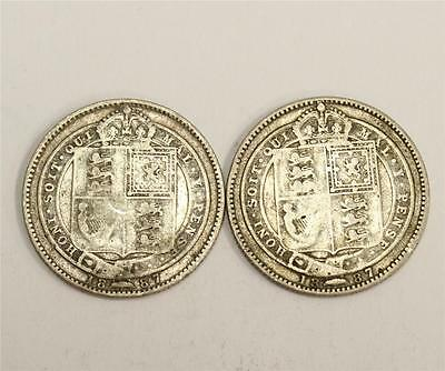 2x 1887 Great Britain Victoria silver Shillings 2-coins VG-F