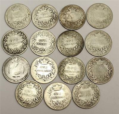1824-1887 Great Britain Silver Shillings 15 different readable dates