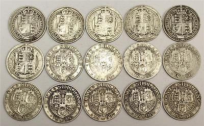1887-1901 Great Britain silver Shillings 15-different dates G6 to VF25