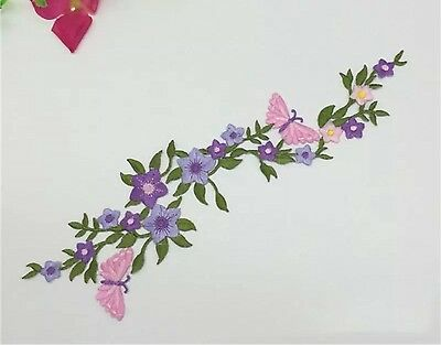 Floral Butterfly  Embroidery applique patch 25cm iron On UK