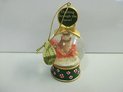 Danbury Mint CAT Dashing Through The Snow /Sleigh Ride SNOW GLOBE Xmas Ornament