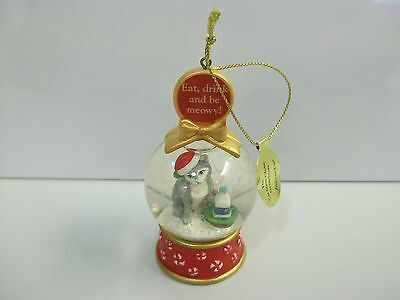 Danbury Mint CAT Eat Drink & Be Meowy / Favorite Treat SNOW GLOBE Xmas Ornament