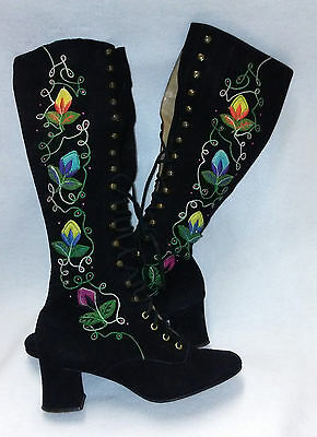 Vintage 60s/70s Suede /Embroidered Laceup Go-Go-Boots Ladies Size 71/2 B