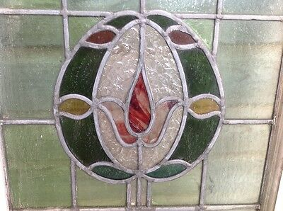 Victorian/Edwardian Stained Glass Leaded Window, Sash 2 panels