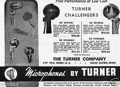 1948 Print Ad of Turner Challengers Model BX CX Crystal BD CD Dynamic Microphone