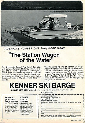 """1970 Print Ad of Kenner Boat Company Ski Barge """"The Station Wagon of the Water"""""""