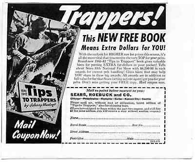 1941 Sears Roebuck Tips for Trappers Johnny Muskrat Print Ad