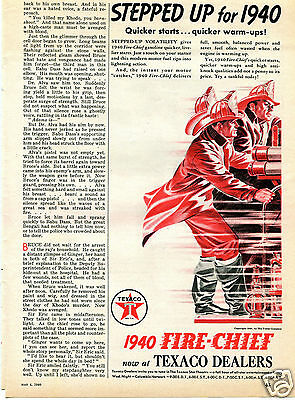 1940 Texaco Fire Chief Gasoline Firefighter Print Ad