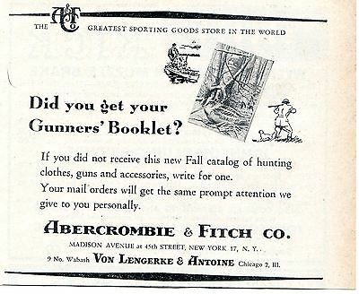 1949 Abercrombie & Fitch Co. Gunners' Booklet Fall Catalog Print Ad