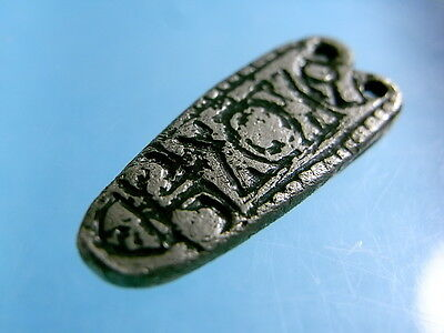Saxon AR Zoomorphic Hound Strap End. 7th Century/Quadruped Cells Niello. (A1007)