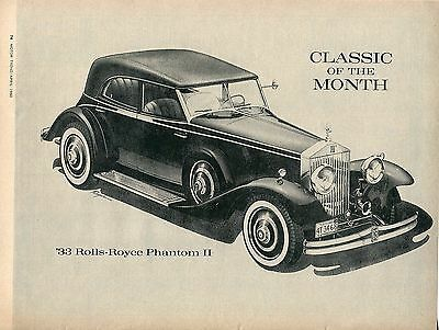 1960 Great Pic of 1933 Rolls Royce Phantom II Motor Trend Classic of the Month