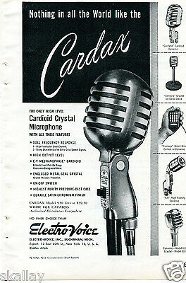 1948 Print Ad of Electro Voice EV Cardax Cardyne Century 630 & 610 Microphone