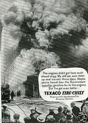 1935 Print Ad of Texaco Fire Chief Fire Engine Gasoline