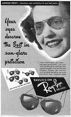 1949 Print Ad of Ray Ban Shooting Sun Glasses with Aunalee Crusey