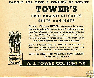 1946 AJ Tower Co Tower's Fish Brand Slickers Suits and Hats Print Ad