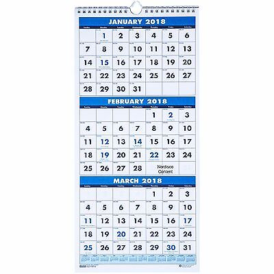 2018 HOD3646 House of Doolittle 3-Month Wall Calendar, Fits Cubicles, 8x17""