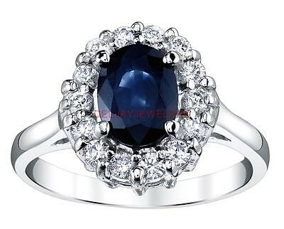 Sapphire Diamond Engagement Ring 2.60ct Natural Blue 14k White Gold
