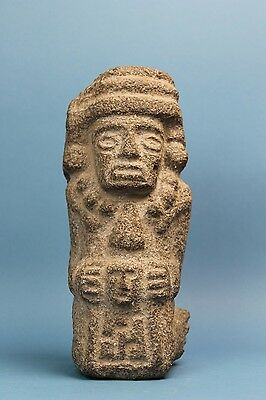Pre Columbian - Large - Aztec Stone Seated Statue - Mexico City Area - Volcanic