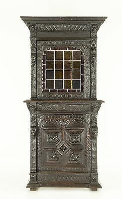 B709 Antique Scottish Oak Cabinet Bookcase with Leaded Glass