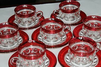 7 KINGS CROWN RUBY FLASHED TEA CUPS & SAUCERS Indiana