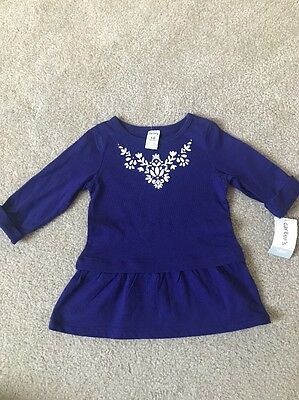 NWT Carters Baby Girl Blue Cotton Top Size 18 M