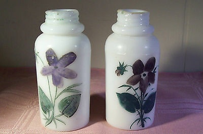 Victorian Salt & Pepper Shakers Milk Glass Hand Painted Flowers Creased Neck