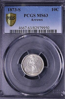 1873-S Arrows Seated Liberty Dime PCGS MS63 Secure Key Date!! **QUDCiX**