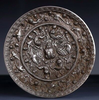 Large Rare Excellent Quality Chinese Old Silver Bronze Mirror Collection US184