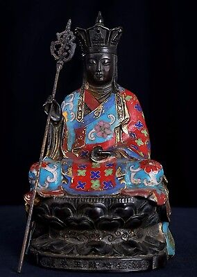 Excellent Old Chinese Bronze Buddha Seated Statue Sculpture Mark QianLong AB065