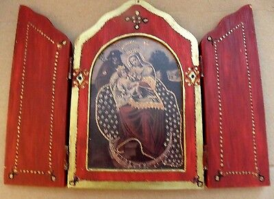 Antique Italian Painted Madonna & Baby Jesus Wooden Triptych+Red /Gold Gilding