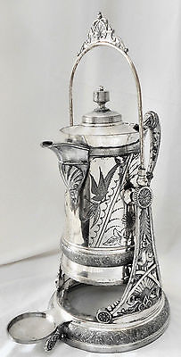BEAUTIFUL! Atq PELTON BROS Victorian Triple Silver Plate Tilt Pitcher & Stand