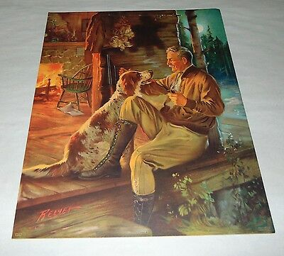 1920'S ANTIQUE Print MAN & HIS HUNTING DOG Charles Relyea SPRINGER SPANIEL