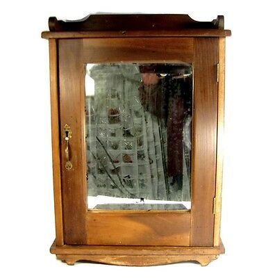 Antique PRIMITIVE MEDICINE CABINET w/ Beveled Mirror Wall Shelf Carved Wood