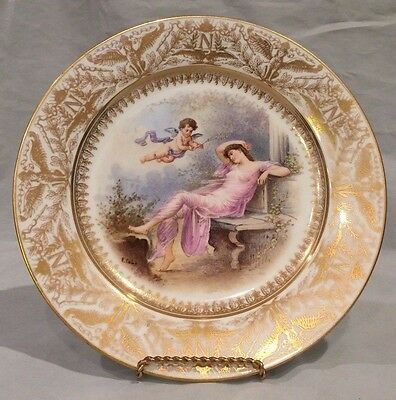 Antique 1850's Sevres Hand Painted Plate Gold Border w/ Napoleonic Crest Signed