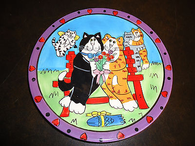 """Catzilla Cats In Love Plate by Candace Reiter  Cupid Feline Romance  8""""  Dia"""